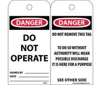 Tags Danger Do Not Operate 6X3 Unrip Vinyl 25/Pk