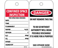 Tags Confined Space Inspection 6X3 Unrip Vinyl 25/Pk