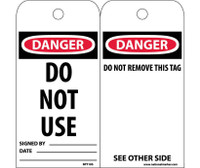 Tags Danger Do Not Use 6X3 Synthetic Paper 25/Pk (Hole)