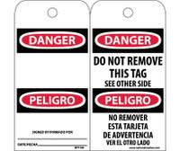 Tags Danger Do Not Remove (Bilingual) 6X3 Unrip Vinyl 25/Pk