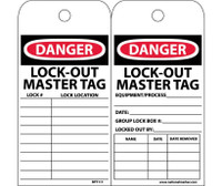 Tags Danger Lockout Master Tag 6X3 Unrip Vinyl 25/Pk