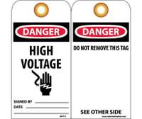 Tags Danger High Voltage 6X3 Unrip Vinyl 25/Pk W/ Grommet