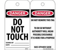 Tags Danger Do Not Touch 6X3 Unrip Vinyl 25/Pk