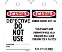 Tags Defective Do Not Use 6X3 .015 Mil Unrip Vinyl 25 Pk