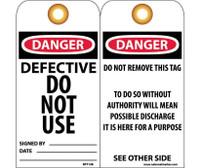 Tags Defective Do Not Use 6X3 .015 Mil Unrip Vinyl 25 Pk W/ Grommet