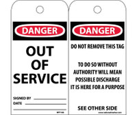 Tags Danger Out Of Service 6X3 Synthetic Paper 25/Pk (Hole)