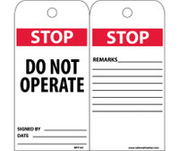 Tags Stop Do Not Operate 6X3 .015 Mil Unrip Vinyl 25 Pk