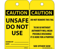 Tags Caution Unsafe Do Not Use 6X3 Synthetic Paper 25/Pk (Hole)