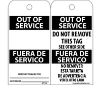 Tags Out Of Service Bilingual 6X3 .015 Mil Unrip Vinyl 25 Pk