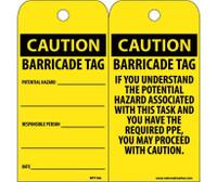 Tags Caution Barricade Tag 6X3 Unrip Vinyl 25/Pk