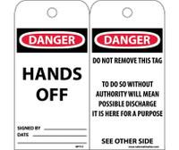 Tags Danger Hands Off 6X3 Unrip Vinyl 25/Pk