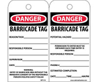 Tags Danger Barricade Tag 6X3 Unrip Vinyl 25/Pk