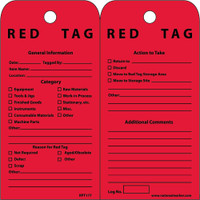 Tags Red Tag 6X3 Unrip Vinyl 25/Pk