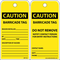 Tags Caution Barricade Tag Do Not Remove 6X3 Polytag Box Of 100