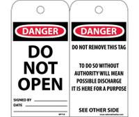 Tags Danger Do Not Open 6X3 Unrip Vinyl 25/Pk