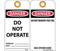 Tags Danger Do Not Operate 6X3 Unrip Vinyl 25/Pk W/ Grommet