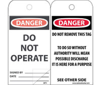 Self Laminating Tags Danger Do Not Operate 6X3 Polytag Box Of 150