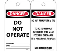 Tags Danger Do Not Operate 6X3 Polytag Box Of 100
