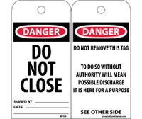 Tags Danger Do Not Close 6X3 Unrip Vinyl 25/Pk