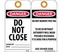 Tags Danger Do Not Close 6X3 Unrip Vinyl 25/Pk W/ Grommet