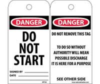 Tags Danger Do Not Start 6X3 Unrip Vinyl 25/Pk