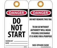 Tags Danger Do Not Start 6X3 Unrip Vinyl 25/Pk W/ Grommet