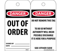 Tags Danger Out Of Order 6X3 Unrip Vinyl 25/Pk