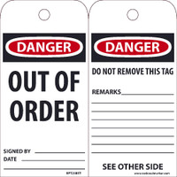 Ez Pull Tags Danger Out Of Order 6X3 Tags On A Roll Box Of 100
