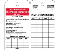 Tags Fire Extinguisher Recharge And Inspect. 6X3 Unrip Vinyl 25/Pk