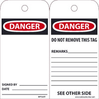 Ez Pull Tags Danger Blank 6X3 Tags On A Roll Box Of 250