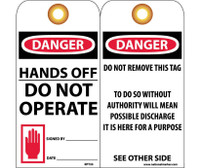 Tags Danger Hands Off Do Not Operate 6X3 Unrip Vinyl 25/Pk W/ Grommet