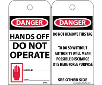 Tags Danger Hands Off Do Not Operate 6X3 Synthetic Paper 25/Pk (Hole)
