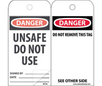 Self Laminating Tags Danger Unsafe Do Not Use 6X3,Polytag Box Of 150
