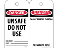 Tags Danger Unsafe Do Not Use 6X3 Synthetic Paper 25/Pk (Hole)