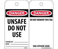 Tags Danger Unsafe Do Not Use 6X3,Polytag Box Of 100
