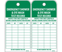 Tags Emergency Shower And Eye Wash Test Record 6X3 Polytag Box Of 250