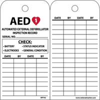 Tags Aed Inspection Record 6 X 3 Unrip Vinyl 25/Pk