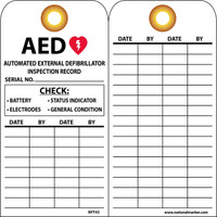 Tags Aed Inspection Record 6 X 3 Unrip Vinyl 25/Pk Grommet
