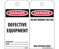 Tags Danger Defective Equipment 6X3 Unrip Vinyl 25/Pk