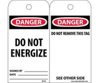 Tags Danger Do Not Energize 6X3 Unrip Vinyl 25/Pk