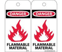 Tags Danger Flammable Material 6X3 Unrip Vinyl 25/Pk