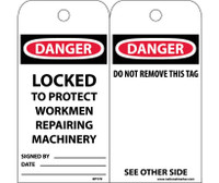 Tags Danger Locked To Protect Workmen Repairing Machinery 6X3 Synthetic Paper 25/Pk (Hole)