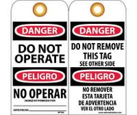 Tags Danger Do Not Operate (Bilingual) 6X3 Unrip Vinyl 25/Pk W/ Grommet