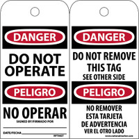 Tags Danger Do Not Operate Bilingual 6X3 Synthetic Paper 25/Pk (Hole)