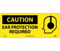 Caution Ear Protection Required (W/Graphic) 7X17 Rigid Plastic