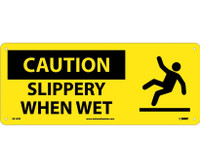 Caution Slippery When Wet (W/Graphic) 7X17 Rigid Plastic