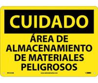 Cuidado Area De Almacenamiento De Materiales Peligrosos 10X14 .040 Alum
