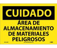 Cuidado Area De Almacenamiento De Materiales Peligrosos 10X14 Ps Vinyl