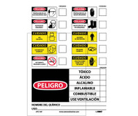 Labels Chemical Id (Spanish) 14X10 Ps Vinyl