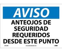 Aviso Anteojos De Seguridad Requeridos Desde Este Punto 10X14 Ps Vinyl